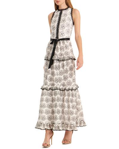 Floral Ruffle Tiered Sleeveless Dress