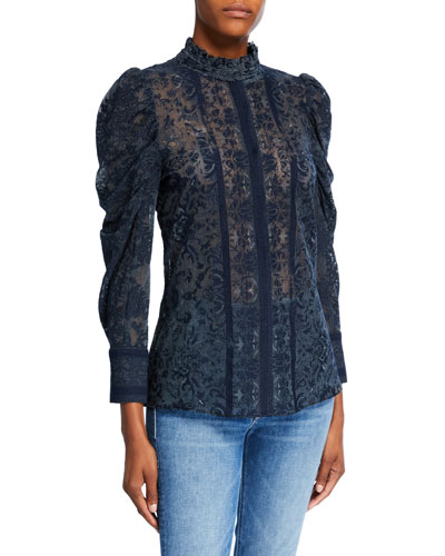 Genna Puff-Sleeve Mock-Neck Lace Blouse
