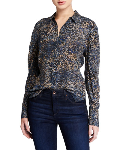 Ori Animal-Print Button-Down Long-Sleeve Silk Blouse