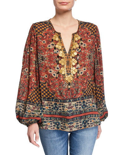 Leah Embellished V-Neck Blouson-Sleeve Silk Blouse