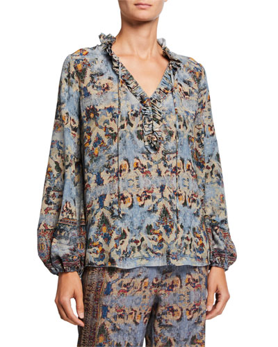 Molly Abstract Ruffle-Trim Blouson-Sleeve Silk Blouse