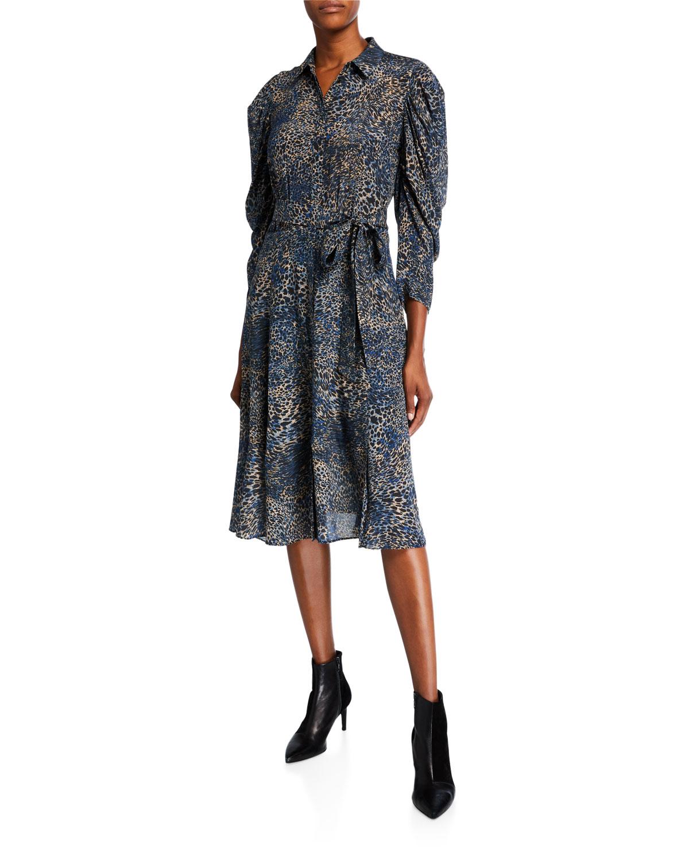 Kobi Halperin Dresses MORGAN ANIMAL-PRINT SILK SHIRTDRESS