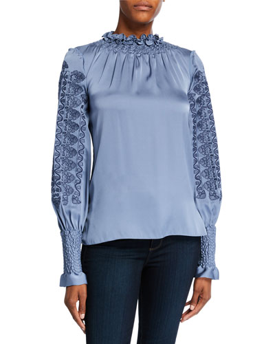 Talita High-Neck Long-Sleeve Silk Blouse with Embroidery