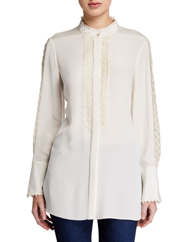 Fergie Button-Front Long-Sleeve Silk Blouse