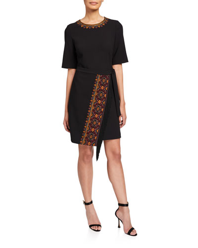 Chelsea Elbow-Sleeve Wrap Dress