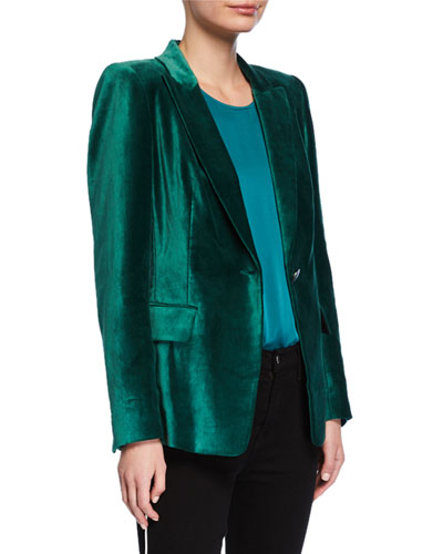 Clara One-Button Velvet Jacket