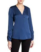 Kobi Halperin Mina V-Neck Long-Sleeve Silk Blouse