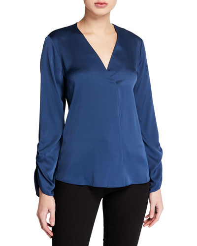Mina V-Neck Long-Sleeve Silk Blouse