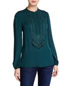 Kobi Halperin Trista Blouson-Sleeve Silk Georgette Blouse with