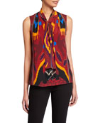 Kobi Halperin Martina Tie-Neck Sleeveless Silk Blouse