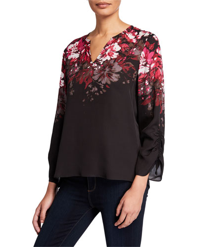 Bianca Floral V-Neck Ruched Sleeve Silk Blouse