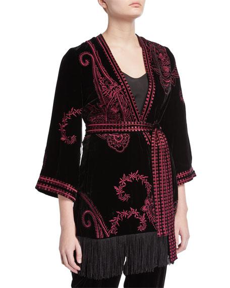 Kobi Halperin Charlie Embroidered Jacket w/ Fringe-Hem