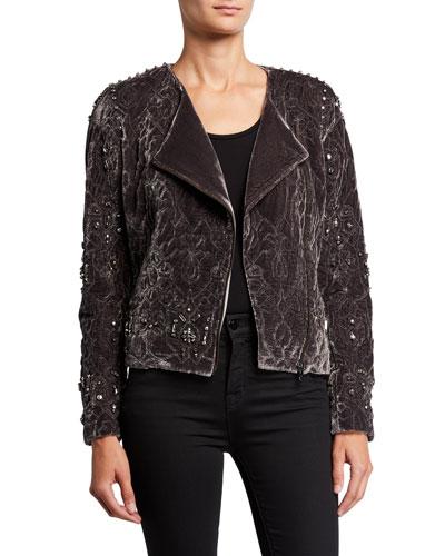 Emily Embellished Zip-Front Velvet Jacket