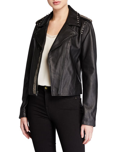 Donella Embellished Leather Moto Jacket