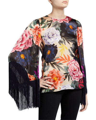 Desiree Floral Fringe-Sleeve Silk Blouse