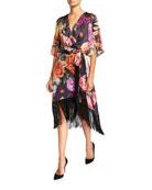 Kobi Halperin Marielle Floral Belted Fringe-Hem Silk Dress
