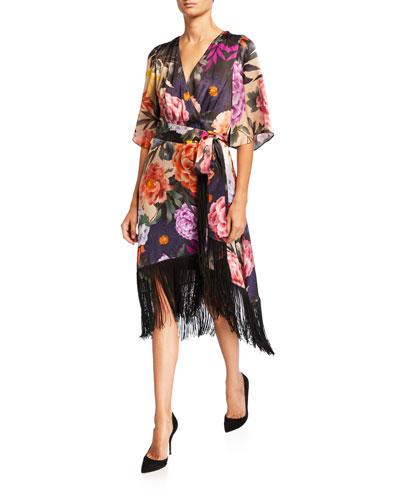 Marielle Floral Belted Fringe-Hem Silk Dress