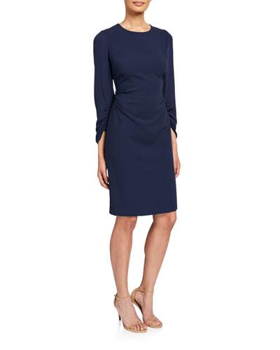 Drew Jewel-Neck Ruched-Sleeve Sheath Dress