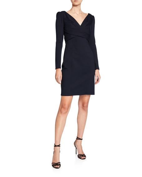 Elie Tahari Zoe V-Neck Long-Sleeve Ponte Sheath Dress