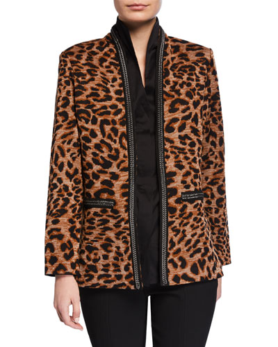 Petite Leopard-Print Jacket with Chain Detail
