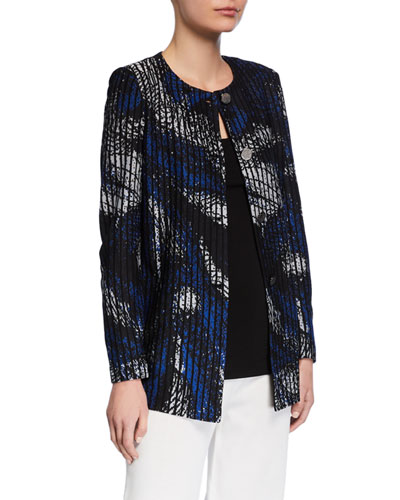 Plus Size Brushstroke Button-Front Jacket