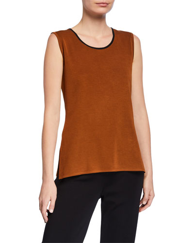 Contrast-Neck Knit Tank