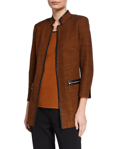 Petite Long Jacket with Faux Leather Trim & Mandarin Collar