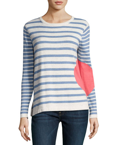 Petite Striped Dot Long-Sleeve Sweater