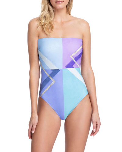 Modern Art Bandeau One-Piece Swimsuit