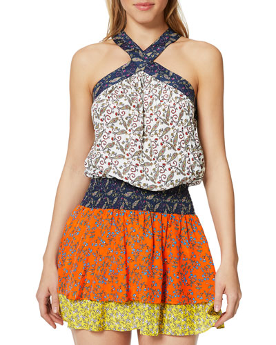 Crystal Printed Sleeveless Short Dress