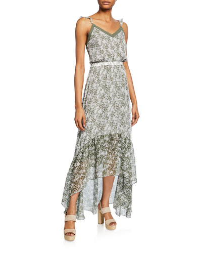 Schena Printed High-Low Dress
