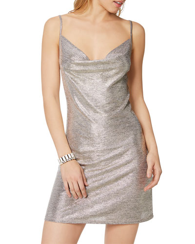 Jac Metallic Cowl-Neck Mini Slip Dress