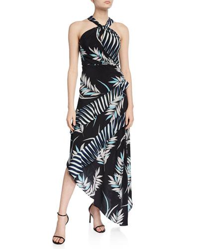 Sidra Printed High-Neck Asymmetrical Dress