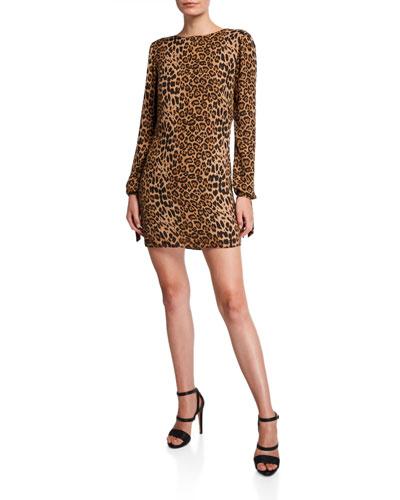 Dahlia Leopard Cowl-Back Long-Sleeve Short Dress