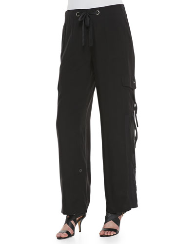 Petite Silk Cargo Pants with Grommet Detail