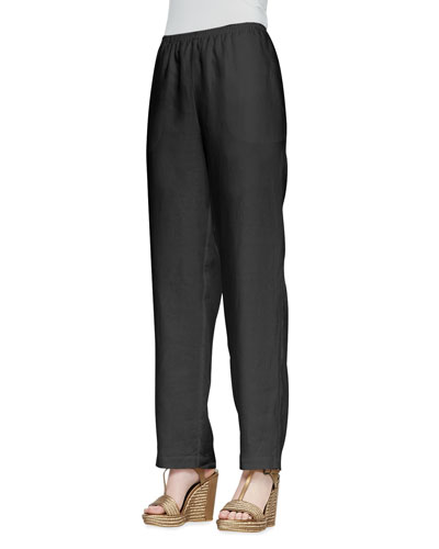 Petite Straight-Leg Linen Pull-On Pants