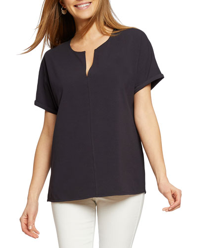 Petite Sunday Stroll V-Neck Short-Sleeve Top