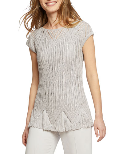 Show Time Cap-Sleeve Fringe-Hem Sweater