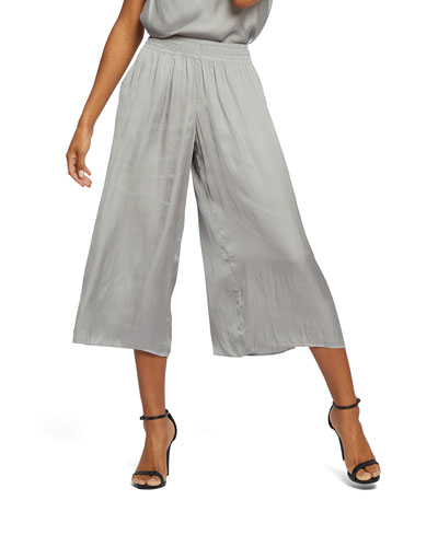Destination Pocket Wide-Leg Crinkle Crop Pants