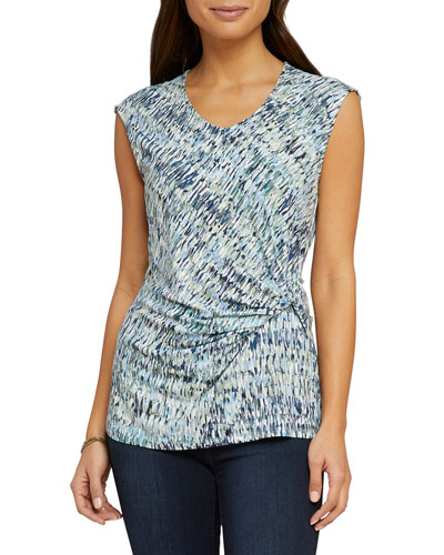 Field Impression Printed Twist-Front Cap-Sleeve Top