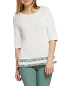 NIC+ZOE Cruise Half-Sleeve Fringe-Hem Sweater