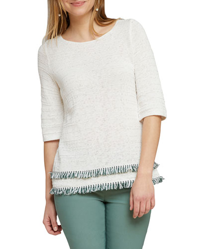 Cruise Half-Sleeve Fringe-Hem Sweater