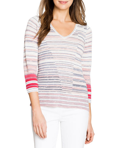 Skyline Striped V-Neck 3/4-Sleeve Sweater
