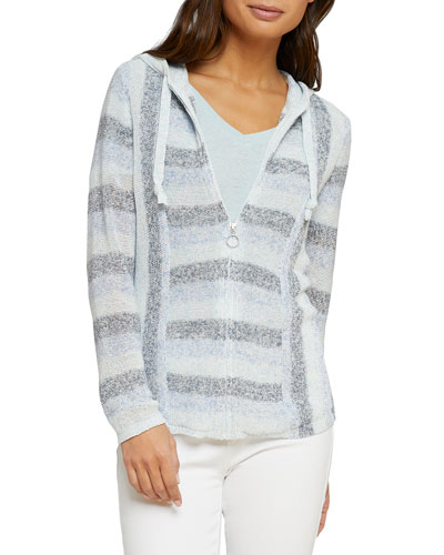 Barefoot Striped Hooded Zip-Front Cardigan