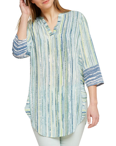 Awakening Striped V-Neck 3/4-Sleeve Tunic Top