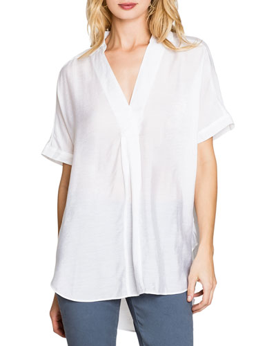 Waterfront V-Neck Short-Sleeve Collared Top