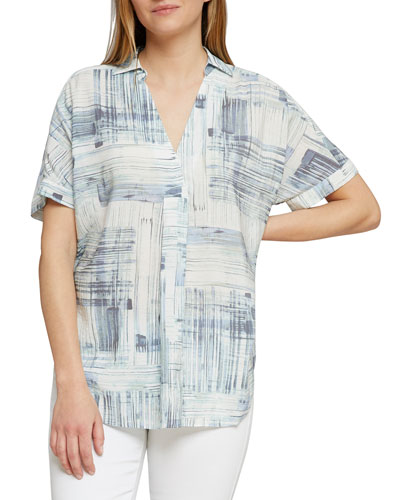 Shoreline Grid Short-Sleeve Top