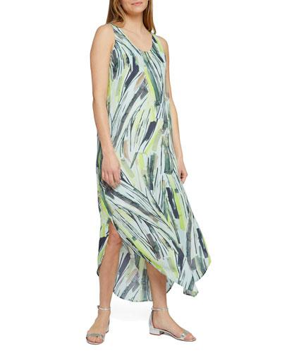 Palm Printed Scoop-Neck Sleeveless Maxi Dress