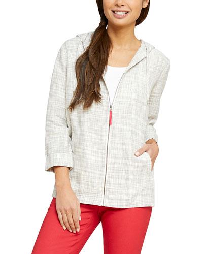 Early Bird Zip-Front Hooded Linen Jacket