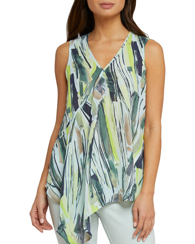 Palm Printed Asymmetric Tank